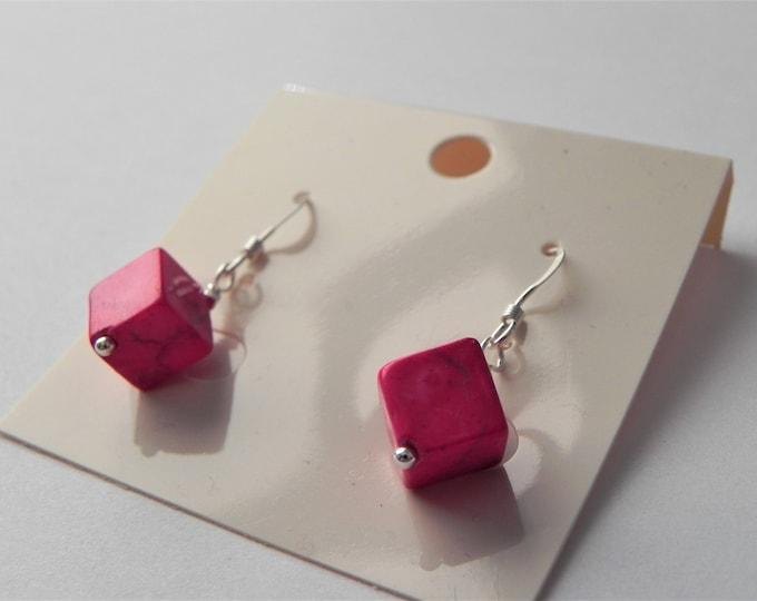 Hot pink howlite sterling silver cube earrings.