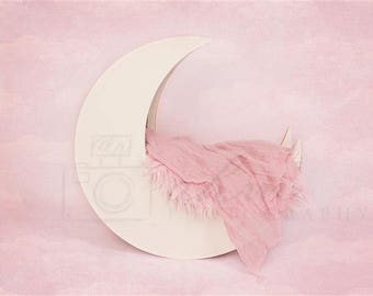 DIGITAL Newborn Backdrop White Moon on Pink. One of a kind prop!