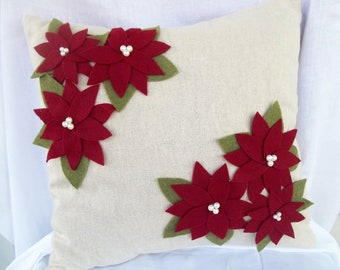 Poinsettia Pillow cover Christmas, Christmas home decor, holiday decor, holiday pillow, holiday gift decor, Christmas home decoration