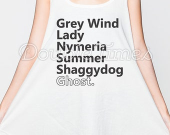 Game of Thrones Dress Direwolves Names Tank Top Women Shirt White Sundress Mini Dresses Size S M L