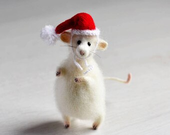 Christmas mouse art doll knitted mouse rat doll mouse gift Christmas gift for her felt mouse gift art mouse Christmas decor mouse