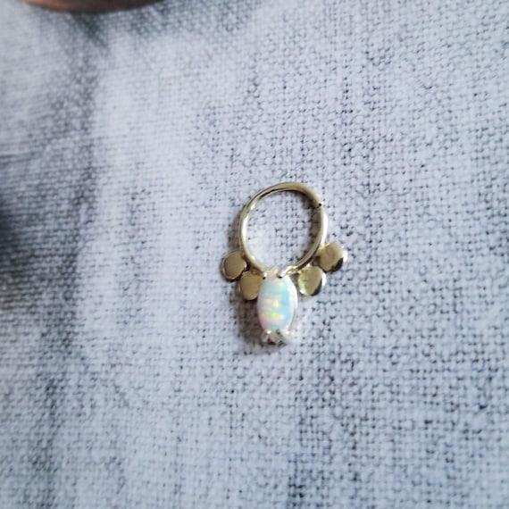 Opal Septum, Rainbow Gemstone Nose Ring, Tribal, Minimal Geometric, Festival Jewelry, Bohemian, Fake Septum, Wedding, Edgy, Hippy, Indian