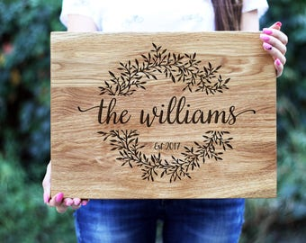 Personalized Cutting Board, Engraved Cutting Board, Wedding Gift Custom Bridal Shower Gift Anniversary Gift for Couple Housewarming gift H90