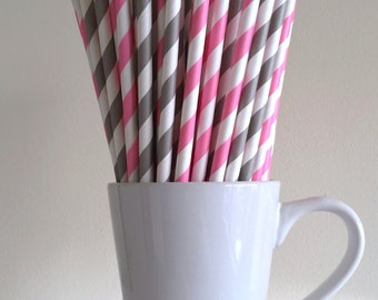Pink and Gray Striped Paper Straws Party Supplies Party Decor Bar Cart Cake Pop Sticks Mason Jar Straws Graduation
