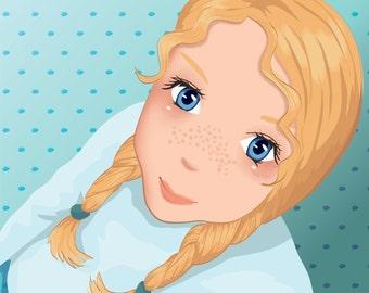 Custom Manga Portrait - Illustrated from your photo - Printable