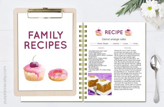 Recetas De Cocina Para Imprimir | Libro De Recetas Para Imprimir Plantilla De Receta Receta