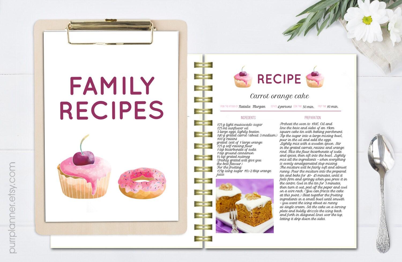 Druckbare Kochbuch Rezept Vorlage editierbare Rezept-Seiten