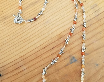 """23""""  Quartz Crystal , Carnelian and Pewter Dragonfly Necklace"""