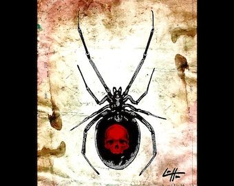 "Print 8x10"" - Widowed - Black Widow Latrodectus Spider Arachnid Dark Art Horror Skull Skeleton Lowbrow Art Haunted Death Halloween Red"