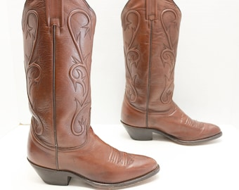 Dan Post Brown Leather Cowboy Cowgirl Western Boots 6.5 M