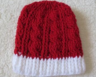 Christmas cable crochet beanie