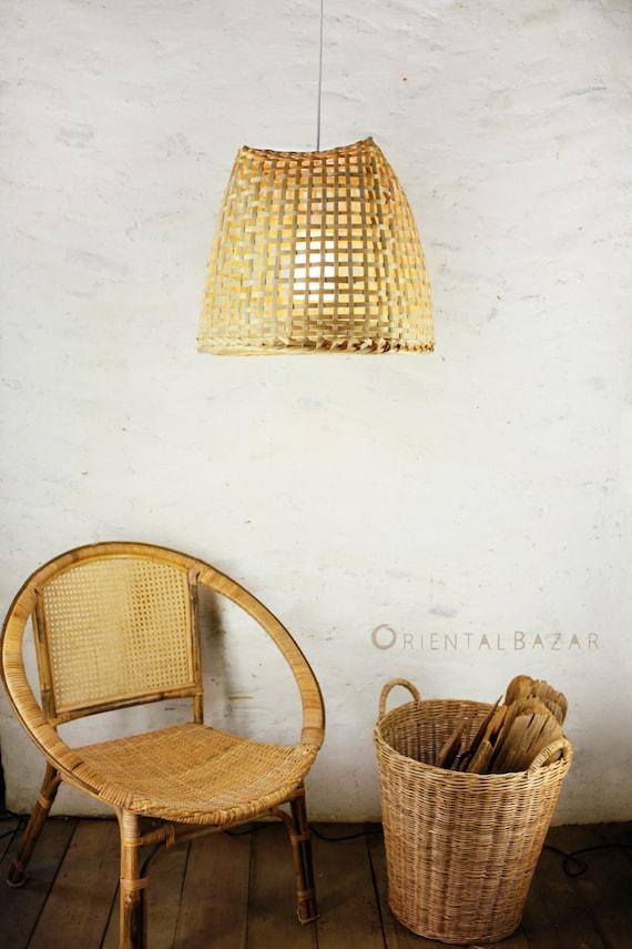 Bamboo pendant light repurposed basket ceiling lamp aloadofball Images