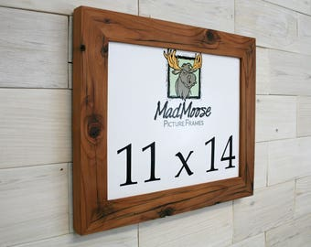 """11x14 Reclaimed Redwood [Chunky x 2""""] Picture Frame   (tags: reclaimed wood frame, rustic frame, wood picture frame, shabby chic frame)"""