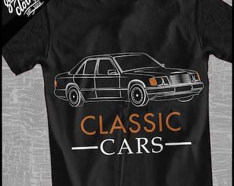 "Mercedes W124 ""Classic Cars Lineart"" Shirt"
