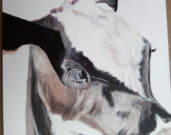 "Holstein Calf Watercolour Pencil & Acrylic Paint Painting Drawing 14"" x 11"" Original Mounted"