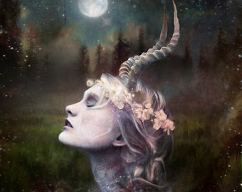 Lady Love Horned  Goddess Canvas Art print altar magic pagan wicca wall art