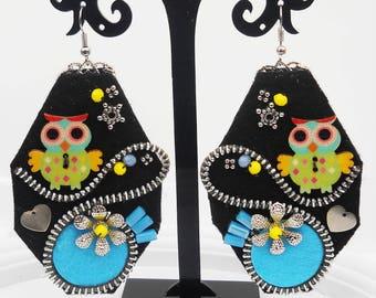 Colorful earrings Zipper Earrings Hippie earrings Hippie Gift Christmas gift Felt earrings Wooden buttons Boho Earrings Hippie Jewelry