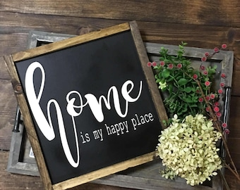 Home Is My Happy Place, Home Wood Sign, Happy Home Sign,