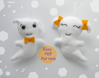 Easy PDF pattern Felt Ghost ornament  Halloween ornaments Plushie Sewing Pattern Softie Pattern Halloween decorations DIY