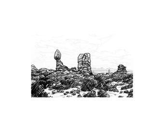 Balanced Rock - Arches National Park - Utah (Art Print)