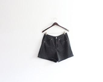 High Waisted Black 90s Denim Shorts