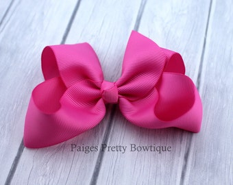 """4.5"""" Pink Boutique Hair Bow-Alligator Clip"""