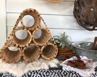 Vintage Rattan Wine Rack . Bohemian Bottle Holder . Made in the Philippines . Farmhouse Living . Home Bar Accessory . Gypsy Vibes