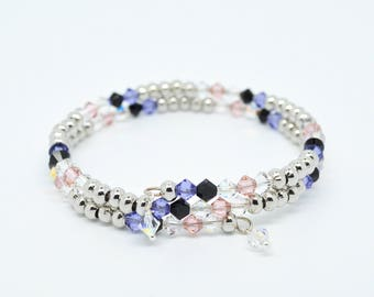 Swarovski Crystal Memory Wire Double Layer Coil Bangle Bracelet in Silver Pink Purple Black and Clear Colours