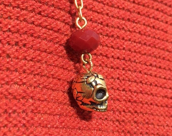 Skull And Rose Y Necklace