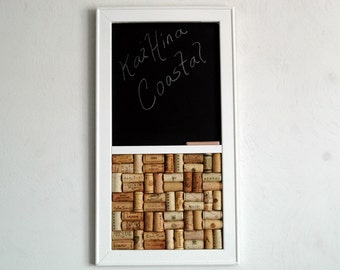 Wine Corkboard  Pinboard &  Chalkboard Combo Kitchen Wall Organizer in a White Frame
