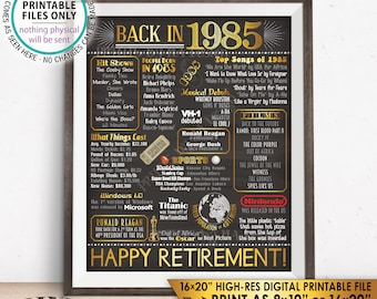 """Retirement Party Decorations, Back in 1985 Poster, Flashback to 1985 Retirement Party Decor, Chalkboard Style PRINTABLE 16x20"""" Sign <ID>"""