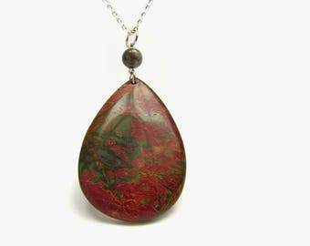 Red and green picture jasper pendant, Large jasper drop necklace, Layering gemstone jewelry, Red creek Multicolor picasso jasper teardrop