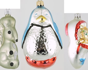 Late 80s Early 90s Glass Ornaments SQUIRREL/CAT in Slipper/PENGUIN set of 3