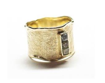 3 Rough Diamonds Ring