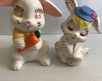 Vintage hand painted easter bunnies
