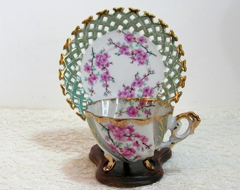 Napco Pink And Grey Roses Design Footed Teacup With Pierced Edge Saucer