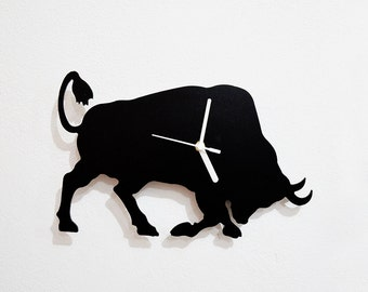 Rodeo Bull Attack Silhouette - Wall Clock