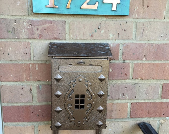 "House Address plaque in Garamond with plywood back, 3""/75mm, 4""/100 mm, 4 x nos. in copper, fitting for stucco, brick and timber g"