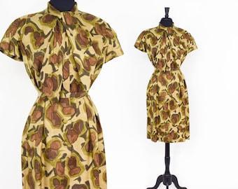 50s Olive Green Floral Dress | Silk Shirtwaist Dress | Medium