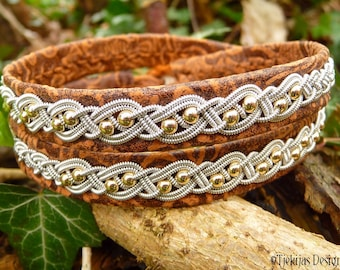 Viking Leather Wrap Sami Bracelet BIFROST Double Cuff in Unique Brown Lambskin with Pewter and 14K Gold filled beads Braid