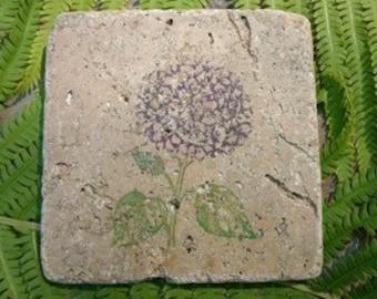 Marble Tile Trivet...Hydrangea