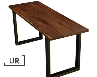 Modern Walnut Solid Wood Desk with Square Legs