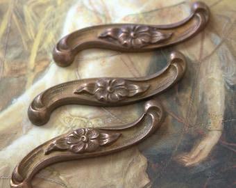 3 Vintage Floral Ornate Victorian Old Brass Pieces