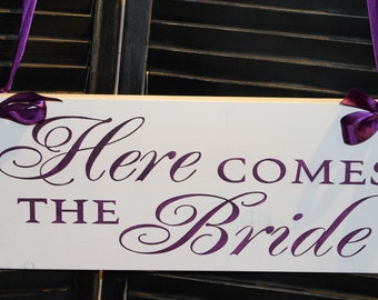 Here Comes the BRIDE Sign/Wedding Sign/Photo Prop/Great Shower Gift/Purple/Eggplant/Reversible Options/Wood Sign/Wedding Sign/Fast Shipping