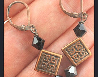 Black and Copper Celtic Leverback Earrings, Swarovski Crystal Earrings, Dangle Earrings, SRAJD