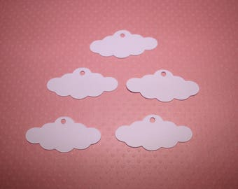 Set of 10 tags in cloud shape to decorate scrapbook pages or cards