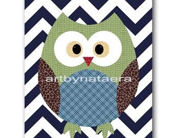 Owl Decor Owl Nursery Kids Wall Art Baby Nursery Decor Baby Boy Nursery Kids Art Baby Room Decor Nursery Print Boy Print Owl Navy Blue