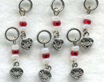 Hearts Knitting Stitch Markers Valentine Hearts Pearl and Ruby Set of 6 /SM53