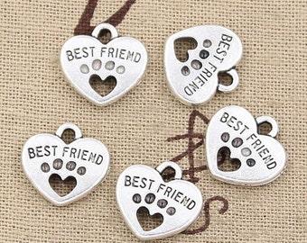 6 Dog Paw Best Friend Heart Charms Antique Silver Tone Canine Paw Charms Charm Bracelet Bangle Bracelet Pendants #352