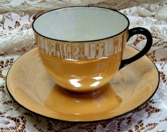 LUSTERWARE Lustre ware -Cup and Saucer, Vintage Handpainted by M. Richardson